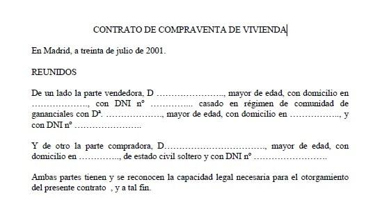 contrato de compraventa vivienda